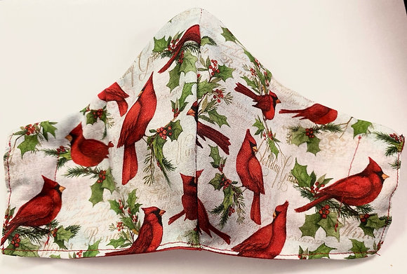 """Cardinal """"Holiday Greetings"""" Mask"""