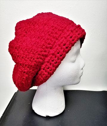 Crochet Red Slouch Hat