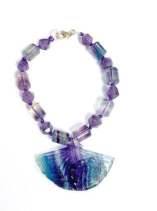Fluorite & Amethyst Fan Bracelet