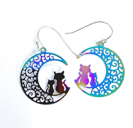 Cats in Crescent Moon Earrings