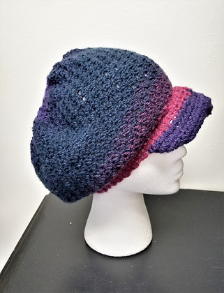 Crochet Newsboy-Style Slouch Cap