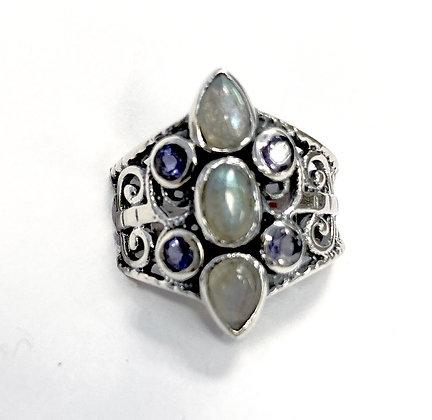 Labradorite and Iolite Bold Filigree Ring