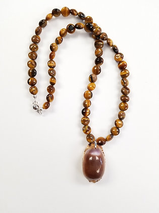 Tigers Eye & Purple Cowrie Shell Necklace
