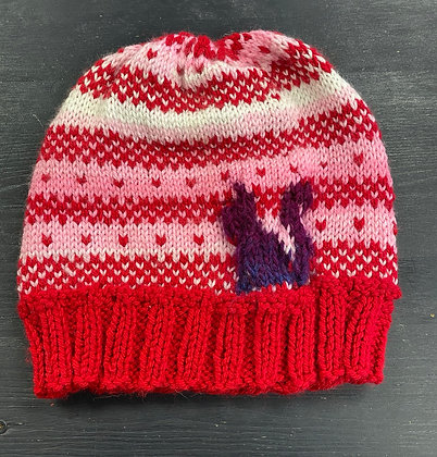 """Hand-Knit Beanie """"Kitty Hearts"""""""