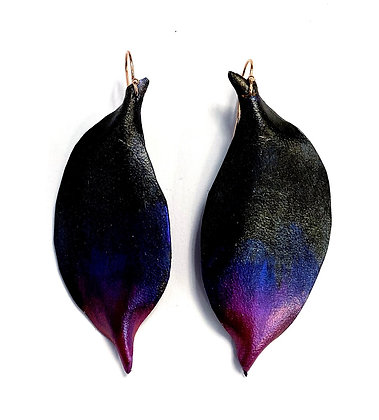 Black Iris Leather Earrings