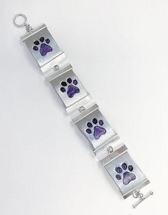Paw Print Link Bracelet (Leather)