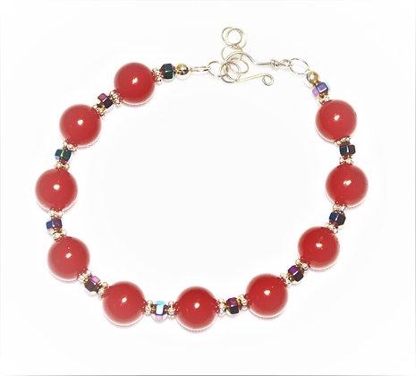 Red Jade and Hematite Bracelet