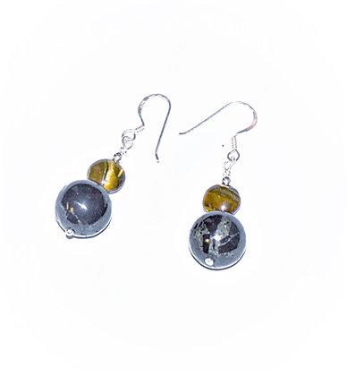 Tigers Eye & Lignite Earrings