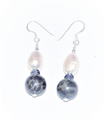Baroque Pearl & Lignite Earrings