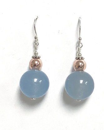 Chalcedony & Hematite Earrings
