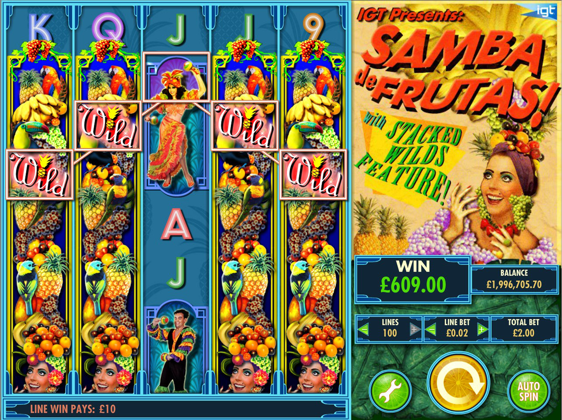 Samba de Frutas! Base Game Wild Wins!