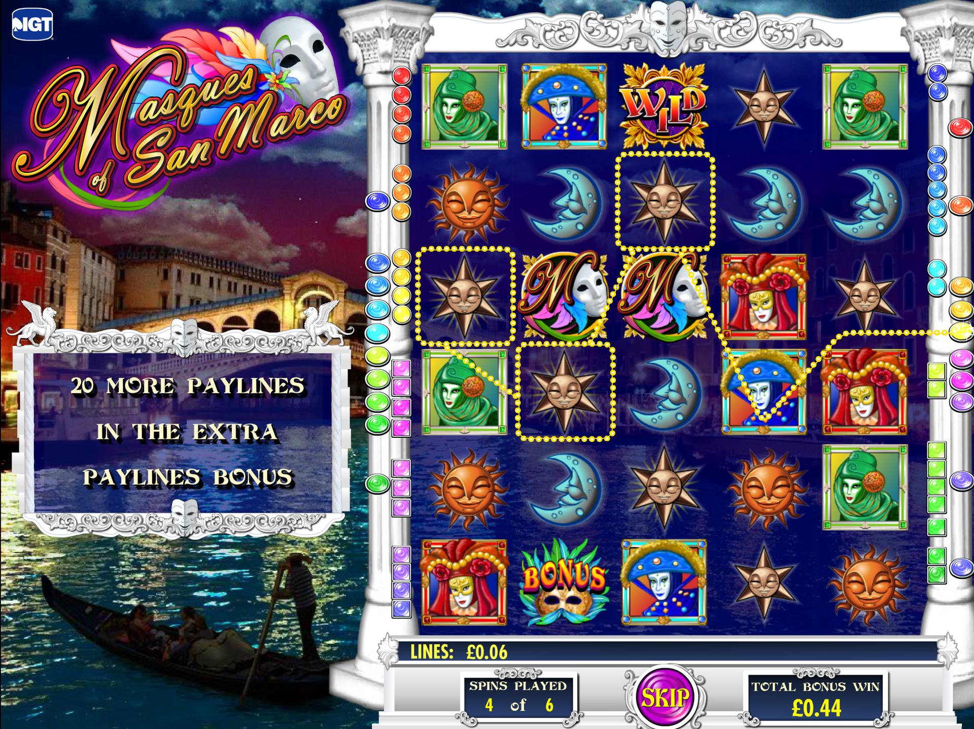 Masques of San Marco Bonus Game Screen