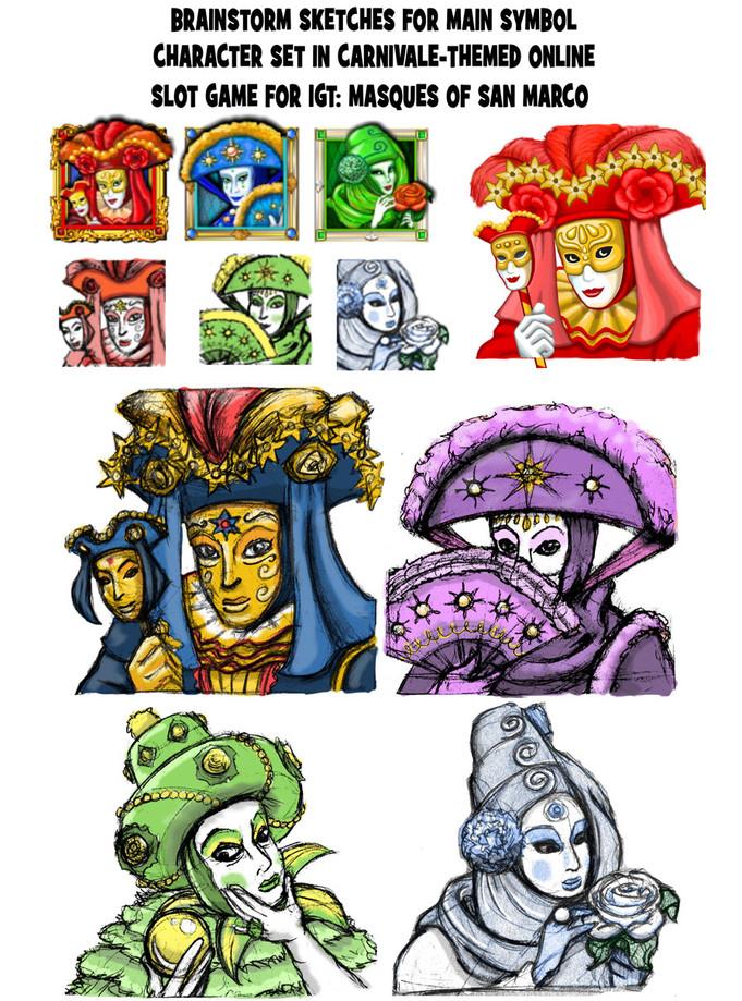 Symbol Sketches for Carnivale Slot Game