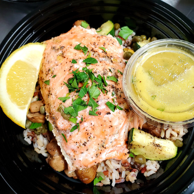 Roasted Salmon and Wild Rice Bowl