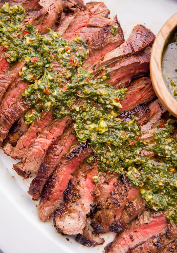 Chimichurri Flank Steak with Roasted Potatoes, Peppers and Onions