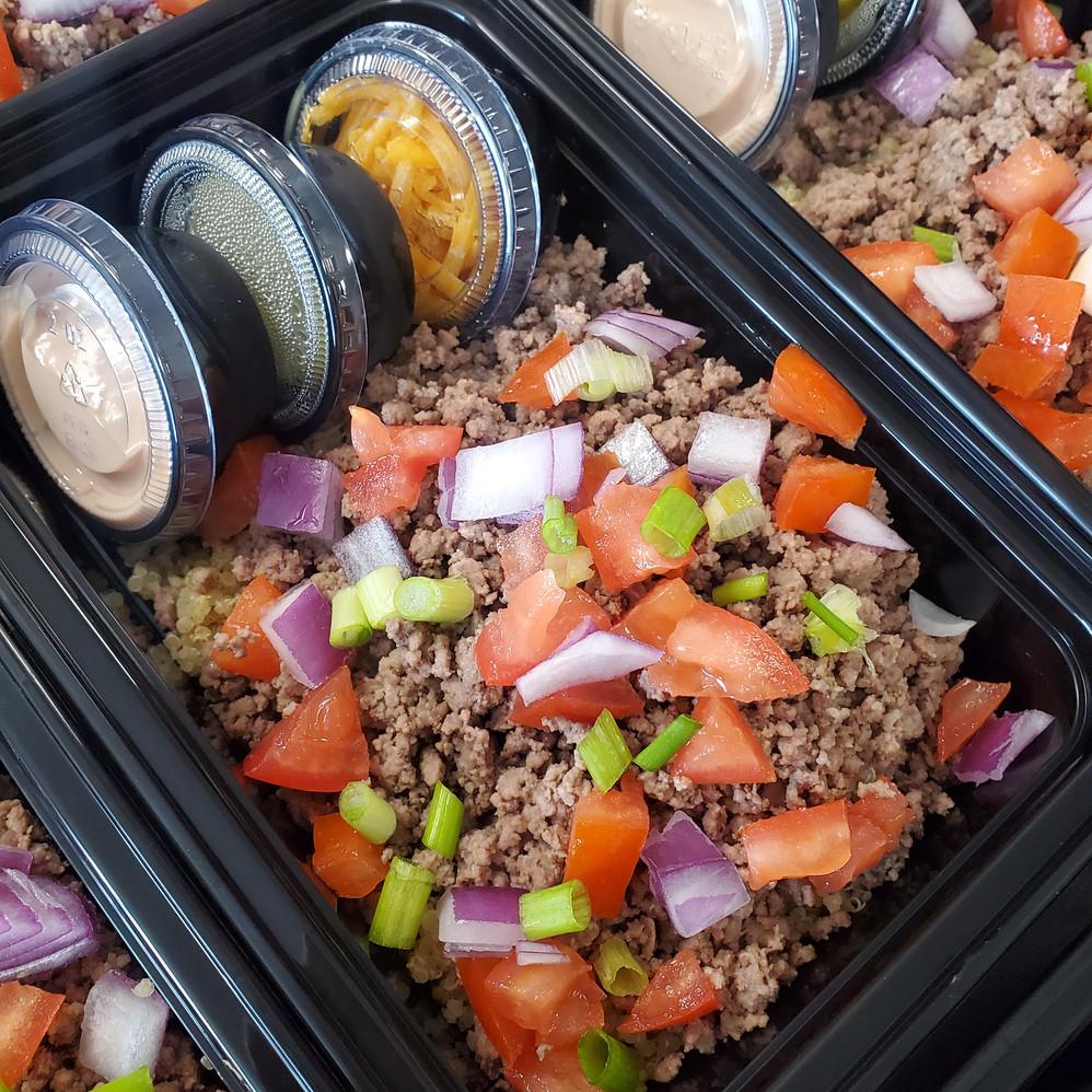 Big Mac Quinoa Bowl with Homemade Thousand Island Dressing