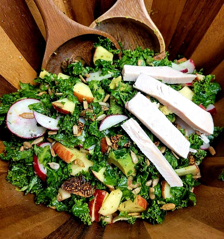 Kale Salad with Turkey, Apples and Figs