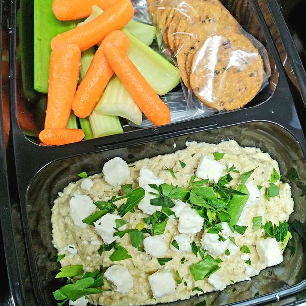 Herb Artichoke White Bean Dip with Veggies and Crackers