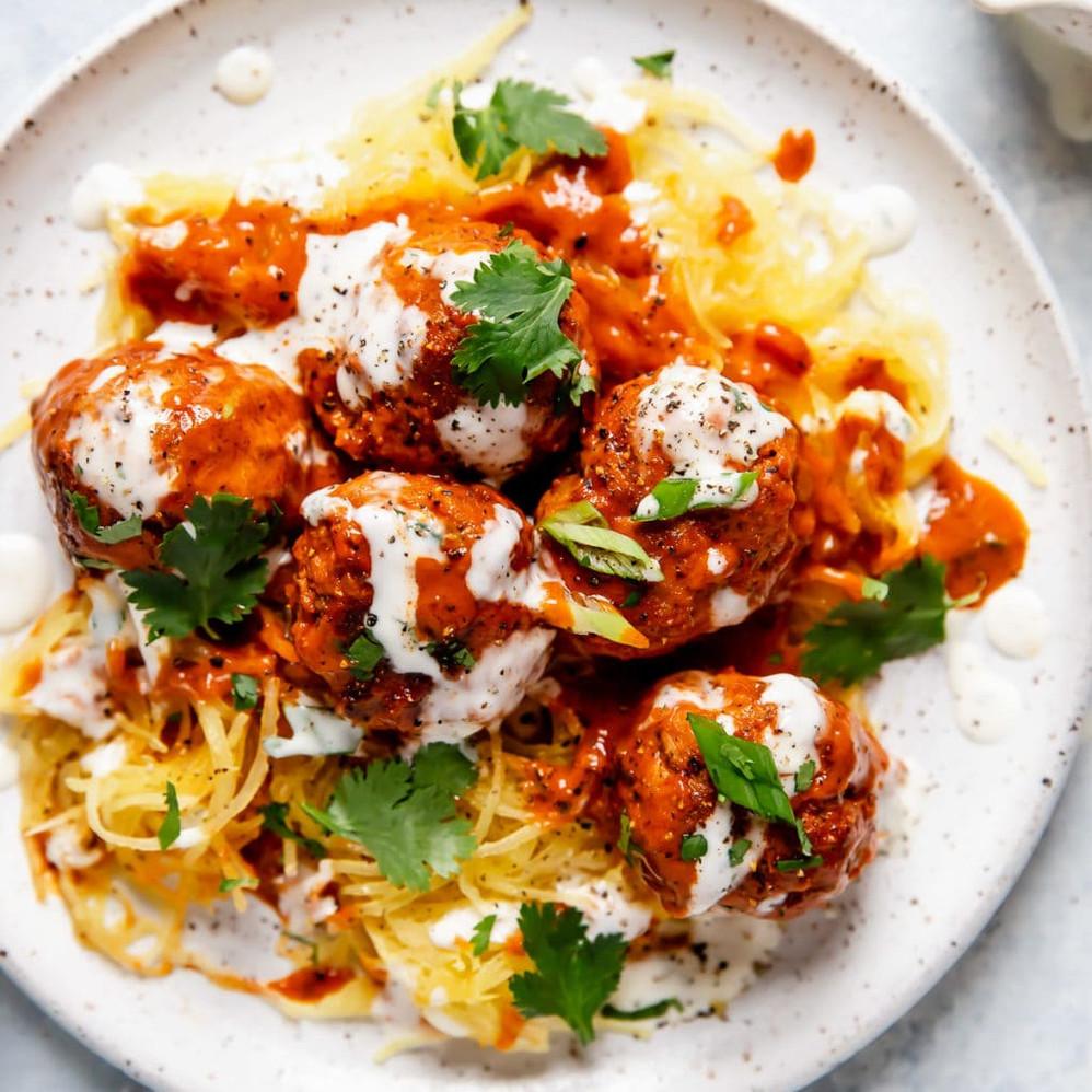 Buffalo Turkey Meatballs with Spaghetti Squash