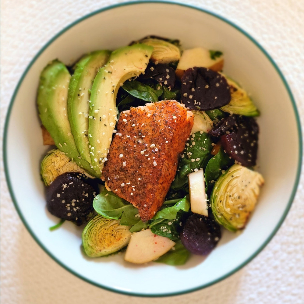 Roasted Beet and Brussels Sprout Bowl with Roasted Salmon
