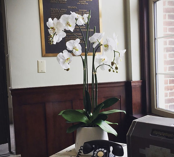 Luxury silk floral arrangement featuring white orchids