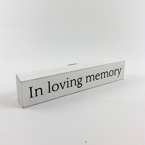 "Small Wood Plaque ""In Loving Memory"""