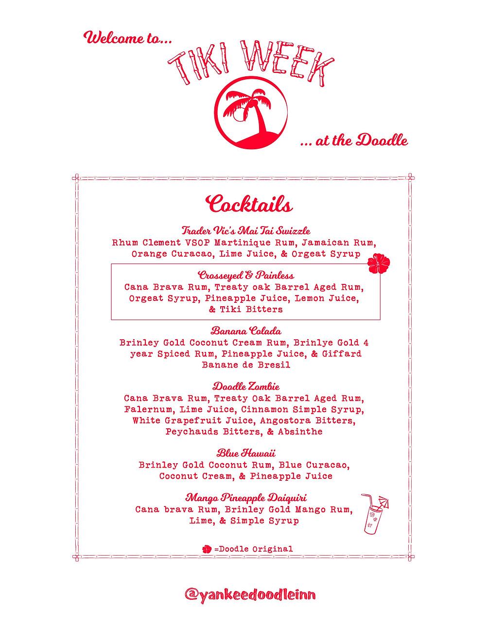 Sneak Peak at our cocktail list for tiki week!