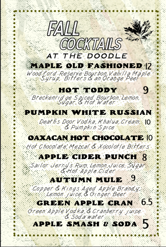 Fall Cocktails now in season!