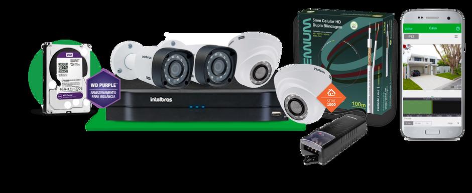 Kit 4 Câmeras Intelbras : Sistema de Câmeras completo incluso instalação e configuração.