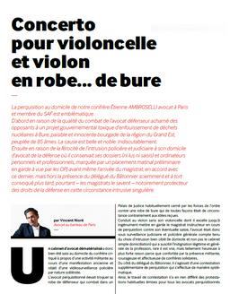 """""""Concerto pour violoncelle et violon en robe... de bure"""", La Lettre du SAF, octobre 2018"""