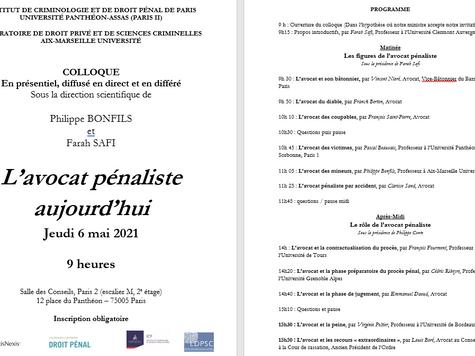 """Intervention de Vincent Nioré lors du colloque """"L'avocat pénaliste aujourd'hui"""", 6 mai 2021."""