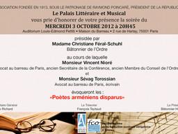 """Intervention soirée """"Poètes arméniens disparus"""", Palais littéraire et musical"""