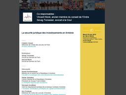 La sécurité juridique des investissements en Arménie — Commission ouverte Paris-Arménie, Maison du B