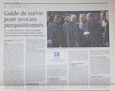 """""""Guide de survie pour avocats perquisitionnés"""" par Paule Gonzalès, Le Figaro"""
