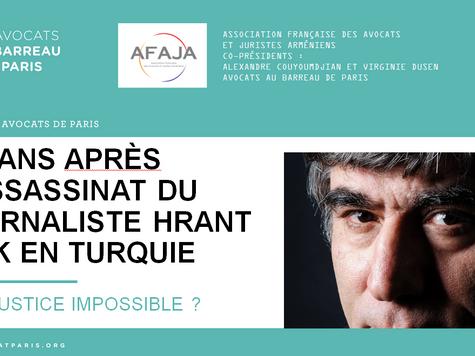 """Intervention au colloque de l'AFAJA """"Dix ans après l'assassinat du journaliste Hrant Dink e"""