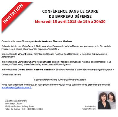 """Conférence débat """"Défendre les avocats : perquisition"""", Bibliothèque de l'Ordre de Cré"""