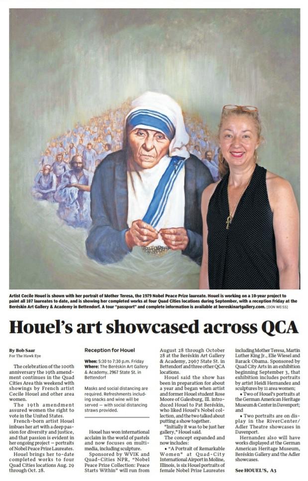 """Houel's art showcased across QCA"", Burlington Hawkeye"