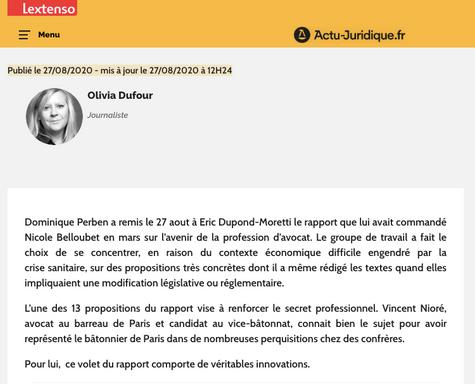 """""""Le rapport Perben innove en matière de secret professionnel"""", Interview de Vincent Nioré"""