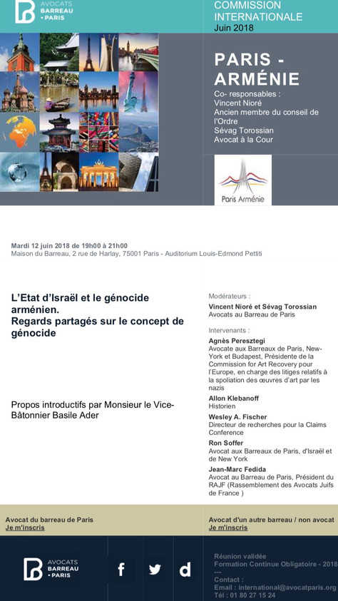 """""""L'Etat d'Israël et le génocide arménien. Regards partagés sur le concept de génocide"""""""