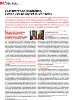 « Le secret de la défense,c'est aussi le secret du conseil » Interview par Anne Portmann, La LJA