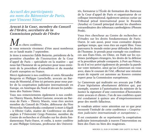 Colloque sur la coopération judiciaire, Discours d'accueil des participants
