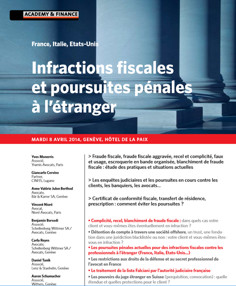 """Intervention lors du colloque """"Infractions fiscales et poursuites pénales à l'étranger&quot"""