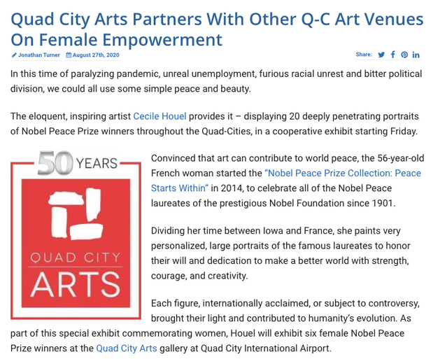 """Quad City Arts Partners With Other Q-C Art Venues On Female Empowerment"""