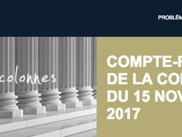 """Compte-rendu de la réunion de colonne du 15 novembre 2017 """"L'Ordre et la transparence"""""""