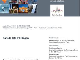 """""""Dans la tête d'Erdogan"""", réunion de la Commission ouverte Paris-Arménie"""