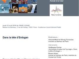 """""""Dans la tête d'Erdogan"""", réunion de la Commission ouverte Paris-Arménie du Barreau de"""
