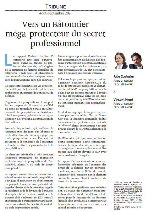 """""""Vers un Bâtonnier méga-protecteur du secret professionnel"""", Dalloz Avocats"""