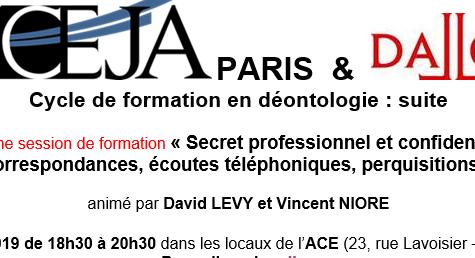 Intervention sur le secret professionnel, Cycle de formation en déontologie, ACEJA