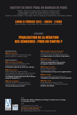 """Intervention au colloque de l'Institut de Droit Pénal """"Pénalisation de la négation des géno"""