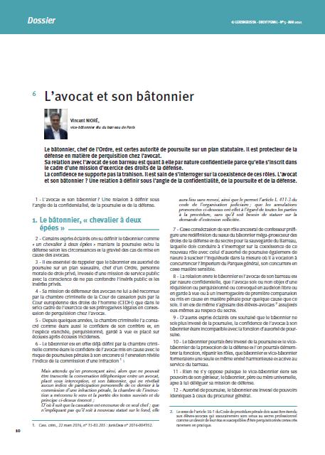 """""""L'avocat et son Bâtonnier"""", Revue de Droit Pénal n°5, mai 2021."""